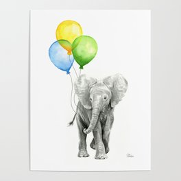 Elephant Watercolor Baby Animal with Balloons Blue Yellow Green Poster