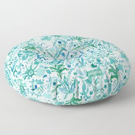 IDEAL BEACH HOUSE Aqua Watercolor Print Floor Pillow