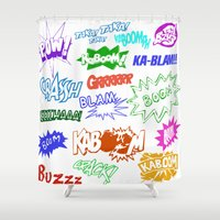 comic Shower Curtains featuring Comic Phrases by ErikMcManusInc.
