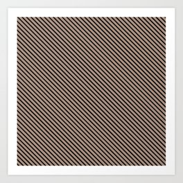 Warm Taupe and Black Stripe Art Print