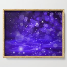 Whimsical Purple Glowing Christmas Sparkles Bokeh Festive Holiday Art Serving Tray