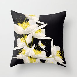 White Flowers On A Black Background #decor #buyart #society6 Throw Pillow