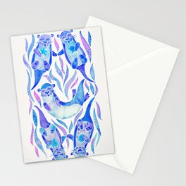 Five Otters – Indigo Ombré Stationery Cards