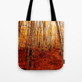 Red tree, fall forest, nature, leaves, golden yellow Tote Bag