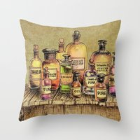 oil Throw Pillows featuring Snake Oil by Eric Fan