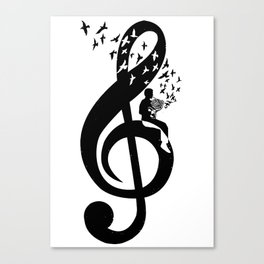 Treble Clef - French Horn Canvas Print