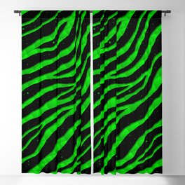 Ripped SpaceTime Stripes - Green Blackout Curtain