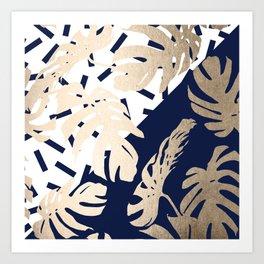 Simply Tropical Nautical Navy Memphis Palm Leaves Art Print