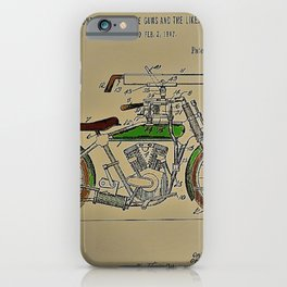 1914 WWI Perry Motorcycle Machine Gun Patent with pencil color iPhone Case