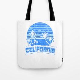 California Sunset Beach Vacation Paradise Island Retro Blue Tote Bag