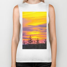 Sunset above the forest Biker Tank