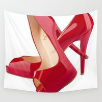 heels Wall Tapestries featuring Red Heels by Luxe Glam Decor
