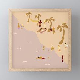 beach at dusk Framed Mini Art Print