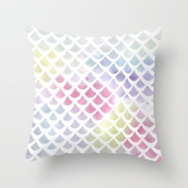 Watercolor fish scale pattern Throw Pillow