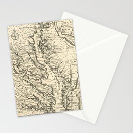 Vintage Map of The Chesapeake Bay (1752) Stationery Cards