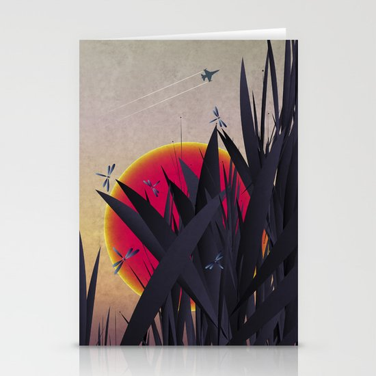 Red Heat with Dragonflies Stationery Cards