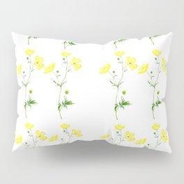 yellow buttercup flower watercolor Pillow Sham