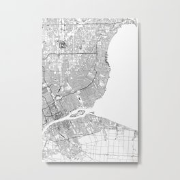 Detroit White Map Metal Print
