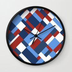 Map 45 Red White and Blue Wall Clock