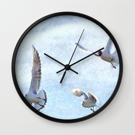 Three Seagulls Watercolor Wall Clock