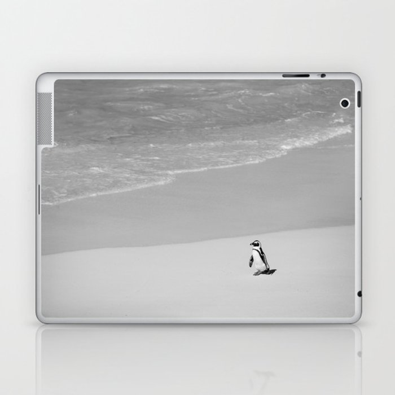 Lone African Penguin walking on beach Laptop & iPad Skin