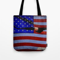 america Tote Bags featuring America!!  by Alaskan Momma Bear