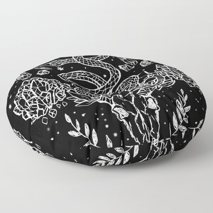 Gothic Snakes And Crystals Moon Phases Floor Pillow