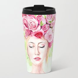 Girl in roses Travel Mug