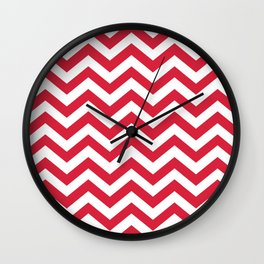 Red Chevron Pattern. Colorful zig zag stripe desig Wall Clock