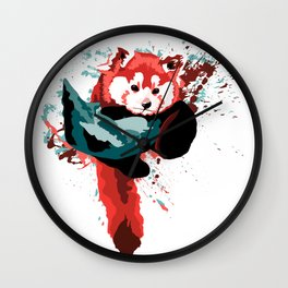 Vibrant Red Panda in a Tree Wall Clock