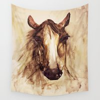 craftberrybush Wall Tapestries featuring Horse watercolor  by craftberrybush