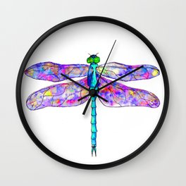 Neon colors rainbow dragonfly Wall Clock