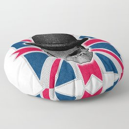 Skull with bowler hat and British flag Floor Pillow
