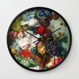 Fruit and Flowers in a Terracotta Vase by Jan van Os Wall Clock
