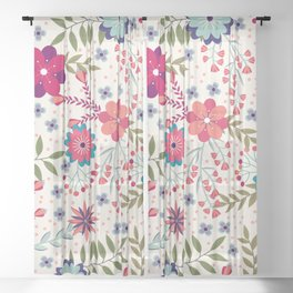 Colorful Floral Spring Pattern Sheer Curtain