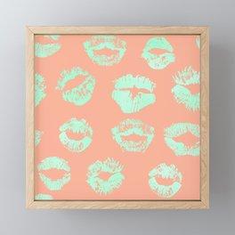 Sweet Life Lips Peach Coral + Mint Meringue Framed Mini Art Print