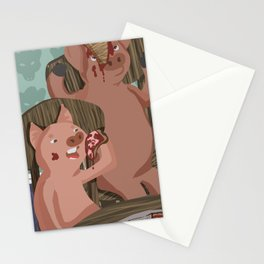 Three Little Pigs and Their Pizza Stationery Cards