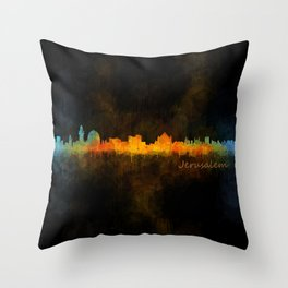 Jerusalem City Skyline Hq v4 Throw Pillow