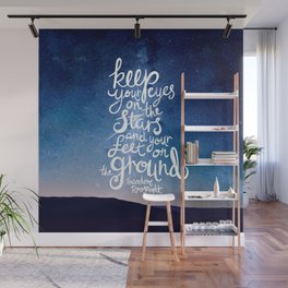 Eyes on the stars quote white lettering Wall Mural