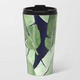 Tropical Leaves 2 Blue Travel Mug