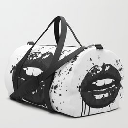 Black and white glamour fashion lips Duffle Bag
