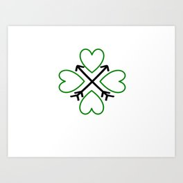 St. Patrick's Day Shamrock Lucky Charm Green Clover Veart with Arrows Art Print