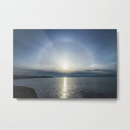 Halo over ice of lake Baikal Metal Print