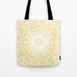 White Lace Mandala on Sunshine Yellow Background Tote Bag