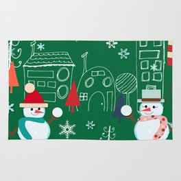 Winter fun green Rug