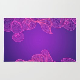 Heat Wave II colorful illustrated abstract waves Rug