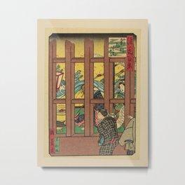 Isshusai Kunikazu - 100 Views of Naniwa: Lattice Window in Shinmachi (1880s) Metal Print