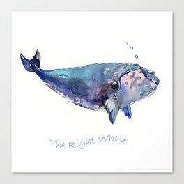 Rigth Whale artwork Canvas Print