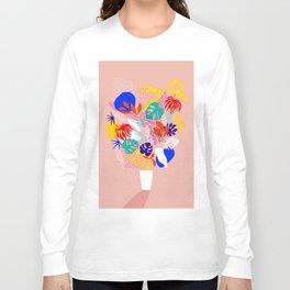 Keep Growing - Tropical plant on peach Long Sleeve T-shirt
