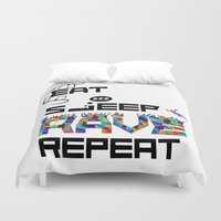 rave Duvet Covers featuring Eat Sleep RAVE Repeat by Halucinated Design
